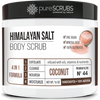 purescrubs 16oz jar coconut pink himalayan salt body scrub Premium Blend #44 to exfoliate your skin comes with free loofah pad free exfoliating organic oatmeal bar soap shea butter and honey and free eco-friendly bamboo spoon to stir and scoop out the scrub