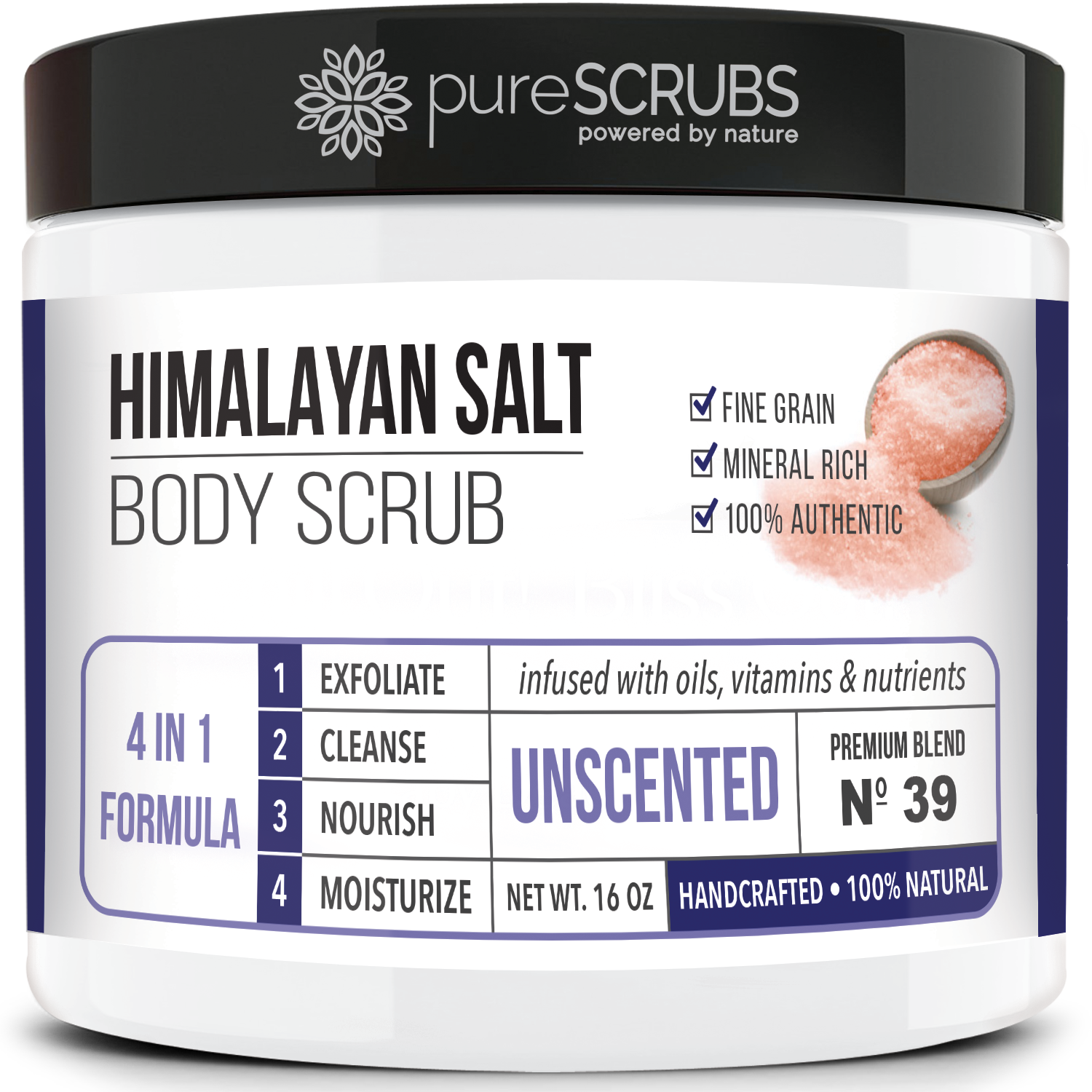 Unscented Body Scrub / Pink Himalayan Salt / Premium Blend #39