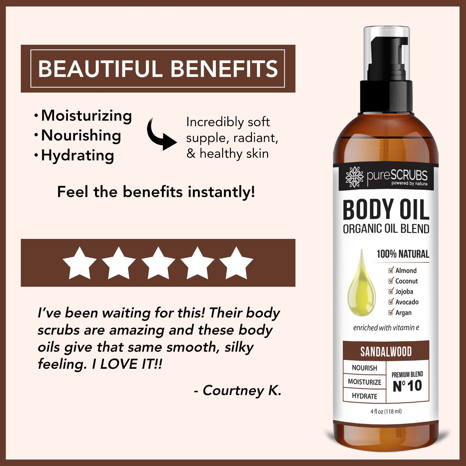Sandalwood Body Oil / Ultra Moisturizing / Premium Blend #10
