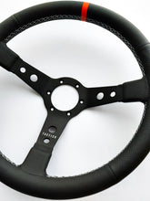 Custom steering wheel in black aluminum with air-cooled leather and Porsche orange by Tactico Racing Atelier