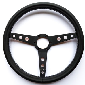 Viceroy Steering Wheel by Tactico in 380mm with black aluminum spokes and wooden back