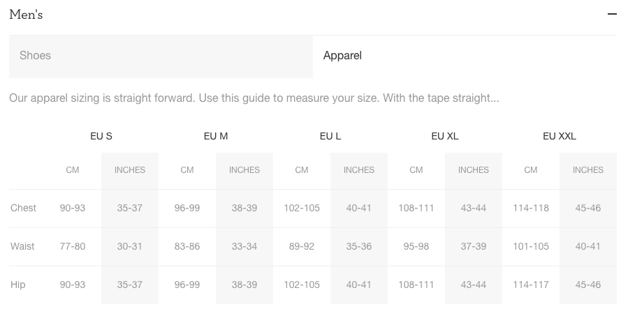 On Running Men's Apparel Size Guide