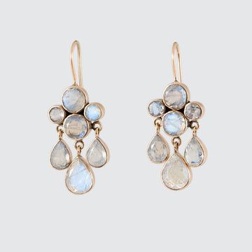 Faceted Stone Cluster with Three Teardrops Gold Earrings