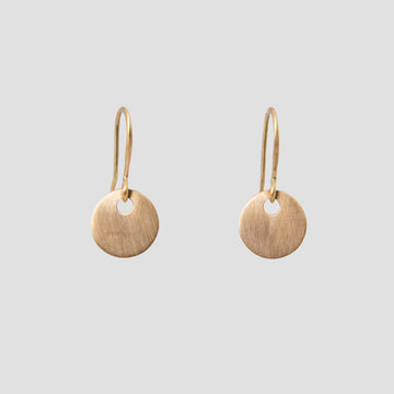 Wafer Thin Satin Coin Drop Earrings