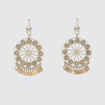 Large Intricate Filigree Wheel with Triangle Dangles Gold Earrings