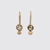 Rose Cut Brown Diamond and Gold Granulation Drop Earrings