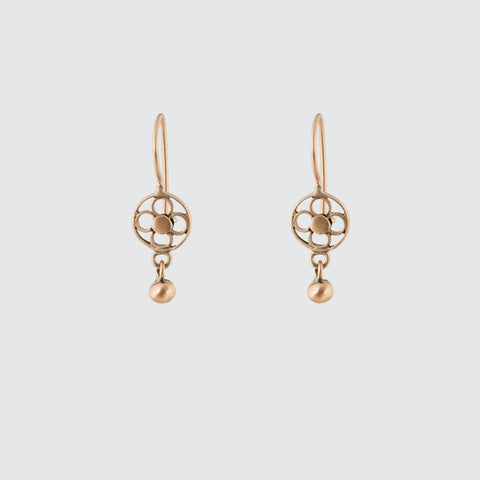 Tiny Filigree Flower Drops with Ball Gold Earrings