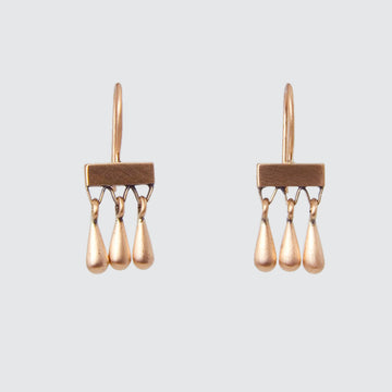 Three Solid Gold Tear Drops on Gold Bar Earrings