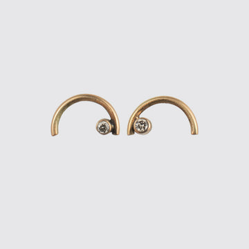 Golden Arc Stud Earrings with Diamonds