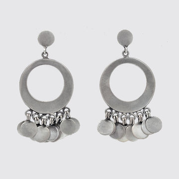 Sterling silver stud disc with Hoop drop and disc dangles