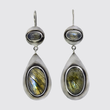 Oval Stone Cabochon Drop Earrings