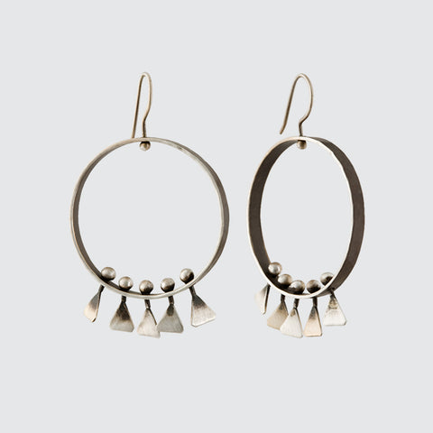 Spinning Hoops with Hammered Triangle Fringe Earrings