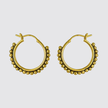 Medium Granulated Hoop Earrings