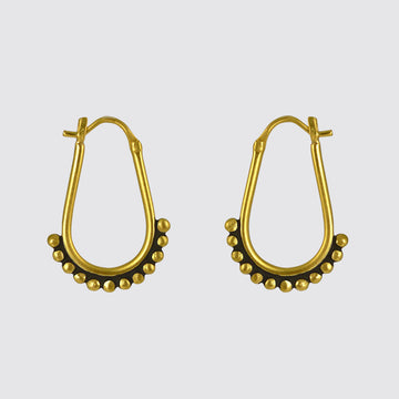 Granulated Pear Shaped Hoop Earrings