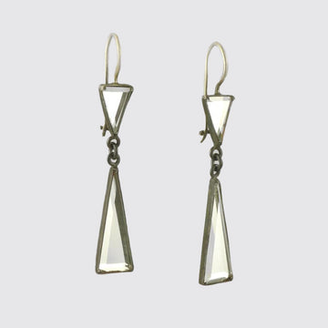 Faceted Triangle Mirror Drops In Blackened Sterling Silver