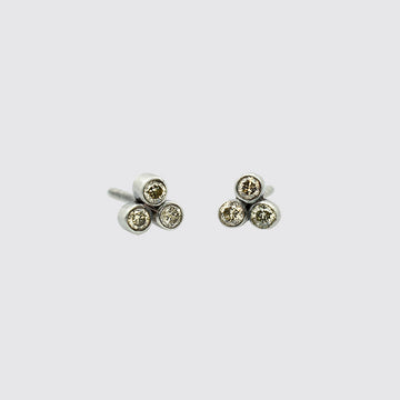 Tiny Clover Diamond Stud Earrings