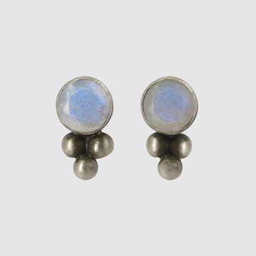 Faceted Stone Stud Earring with Granulation