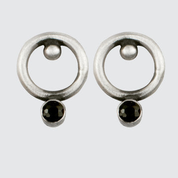 Small Circle Stud Earring with Ball and Stone