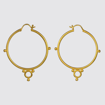 Large Hoop Earrings with ball and Ring Embellishment