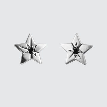 Tiny Star Earring Stud with Star Set Stone
