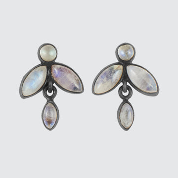 Tiny Cabochon Stone Flower Stud Drop Earrings