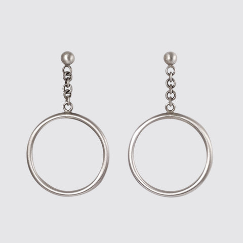 Ball Stud with Swinging Hoop Earrings