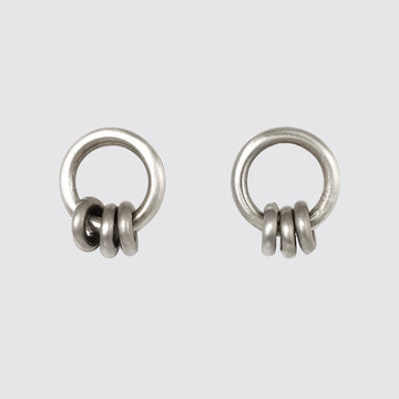 Ring Stud with Moving Rings Earrings