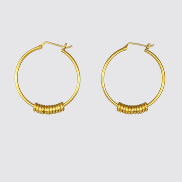 Large Hoop with Moving Rings Earrings