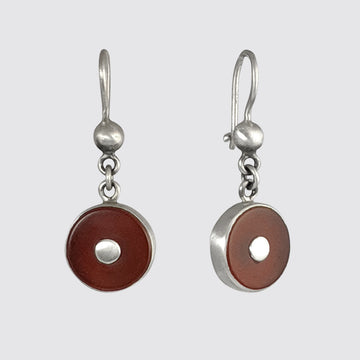Round Stone Drop Earrings