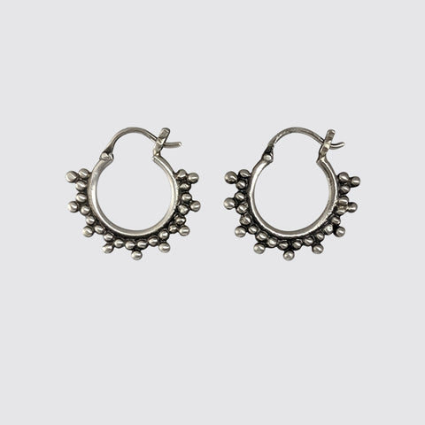 Tiny Hoop Earring with Clover Granulation