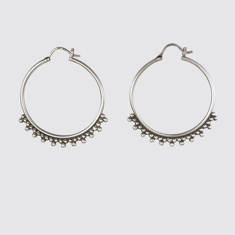 Large Hoop Earrings with Clover Granulation