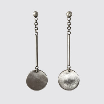 Ball Stud with Swinging Bar and Disc Earrings