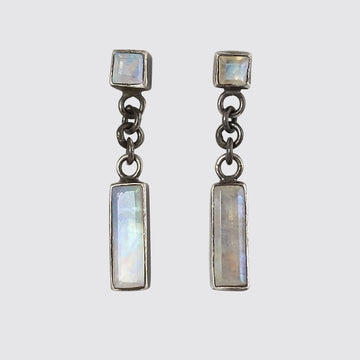 Square Stone Stud with Swinging Baguette Drop Earrings