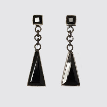 Square Stone Stud with Swinging Triangle Drop Earrings