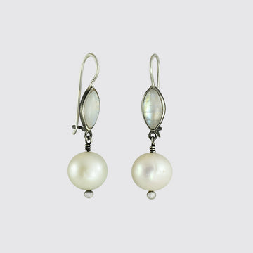 Marquis Cabochon and Large Pearl Drops - EJ2071