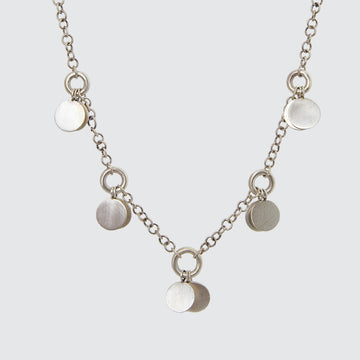 Handmade Chain Necklace with Silver Disc Dangles