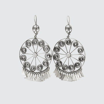 Large Filigree Wheel Drop Earrings