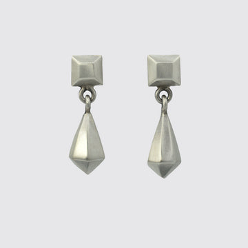 Faceted Teardrop Square Stud