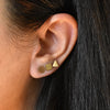 SQUARE DISC STUD EARRINGS IN GOLD