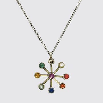Navaratna Necklace With Precious Stones in Yellow Gold