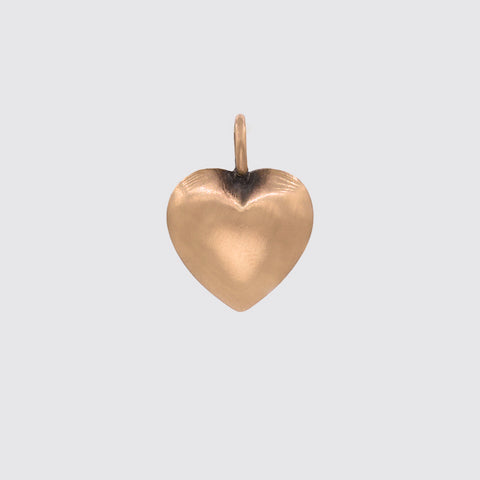 Large Gold Puffy Heart Charm