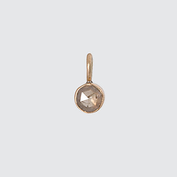 Rose Cut Brown Diamond Gold Charm
