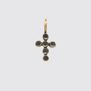 Tiny Cabochon Stone Cross Gold Charm