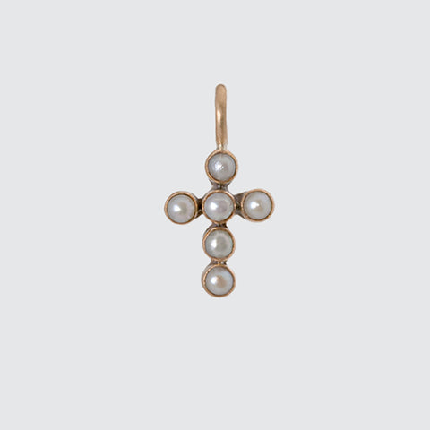 Tiny Pearl Cross Gold Charm