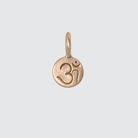 Tiny Etched Om Disc Gold Charm