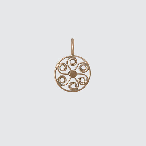 Filigree Wheel Gold Charm
