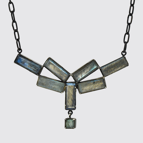 Deco Inspired Faceted Labradorite Necklace In Sterling Silver