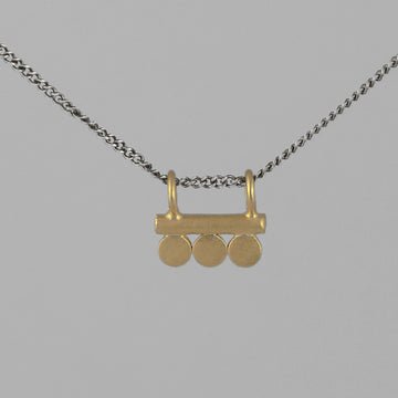 Bar Amulet Pendant with 3 Discs Necklace