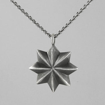 Eight Point Black Star Pendant Necklace
