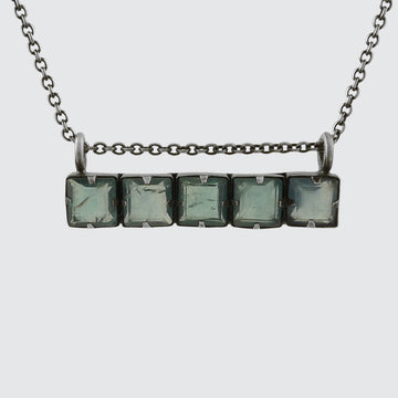Faceted Stone Bar Necklace